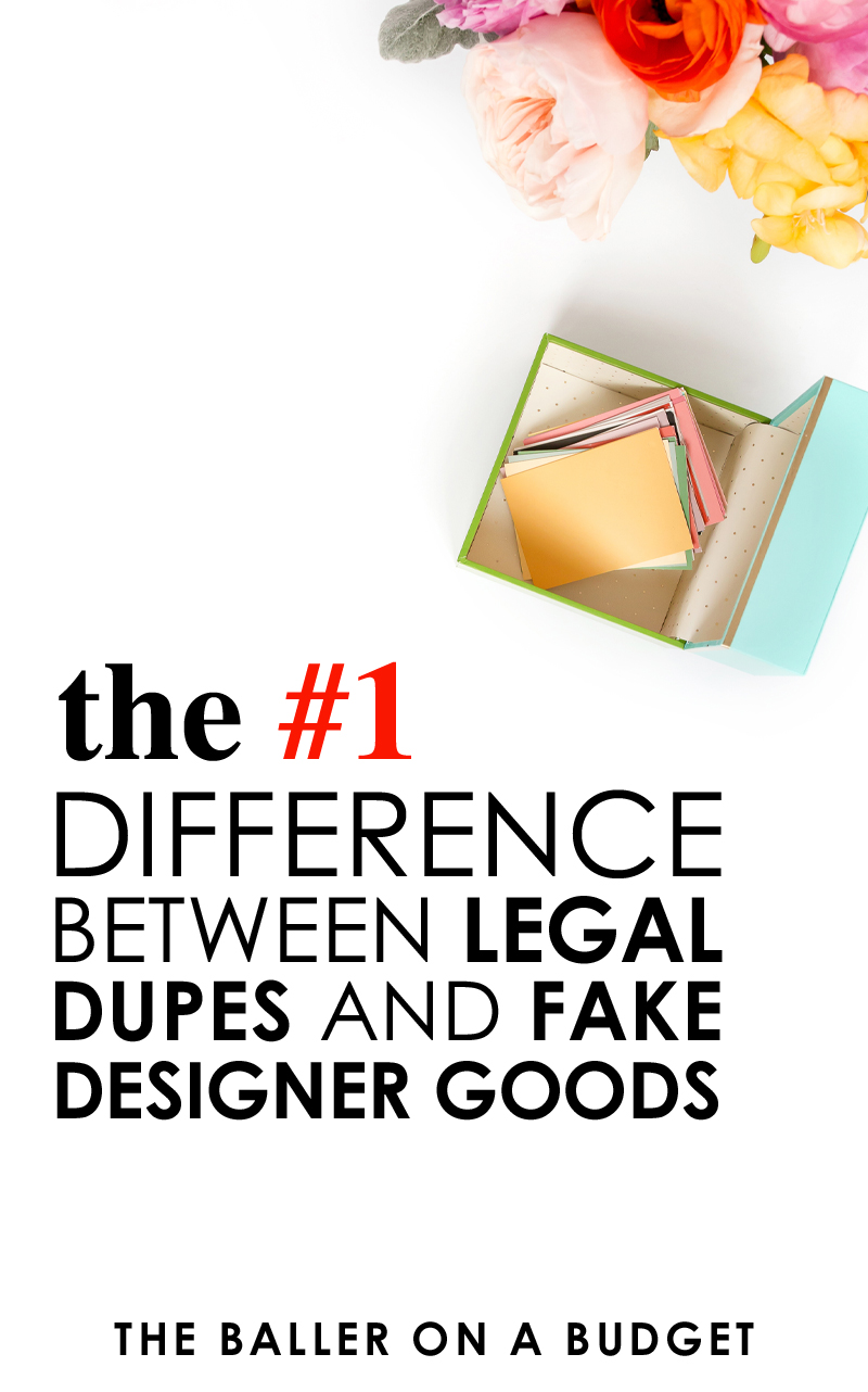 "What's the difference a ""dupe"" and a fake designer item? The biggest determining factor is the legality of the item in regards to copyright infringement. Unlike a counterfeit item, dupes are completely legal to purchase. Click here to read more about the dupe vs. counterfeit debate. - www.theballeronabudget.com"