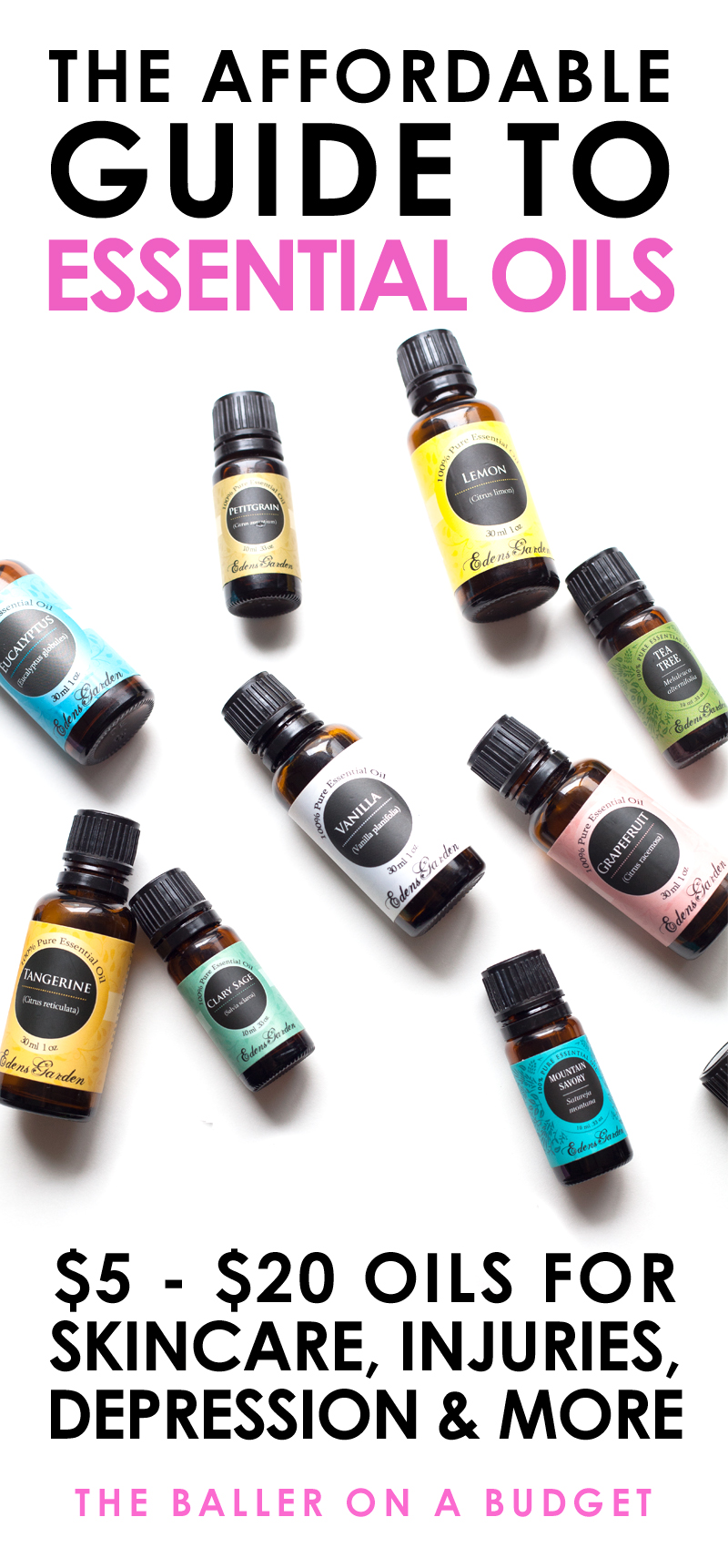 Many Edens Garden Essential Oils range from $5-$10, making them an affordable comparable to Young Living Oils. Read more to see the many uses of these beneficial oils! - www.theballeronabudget.com