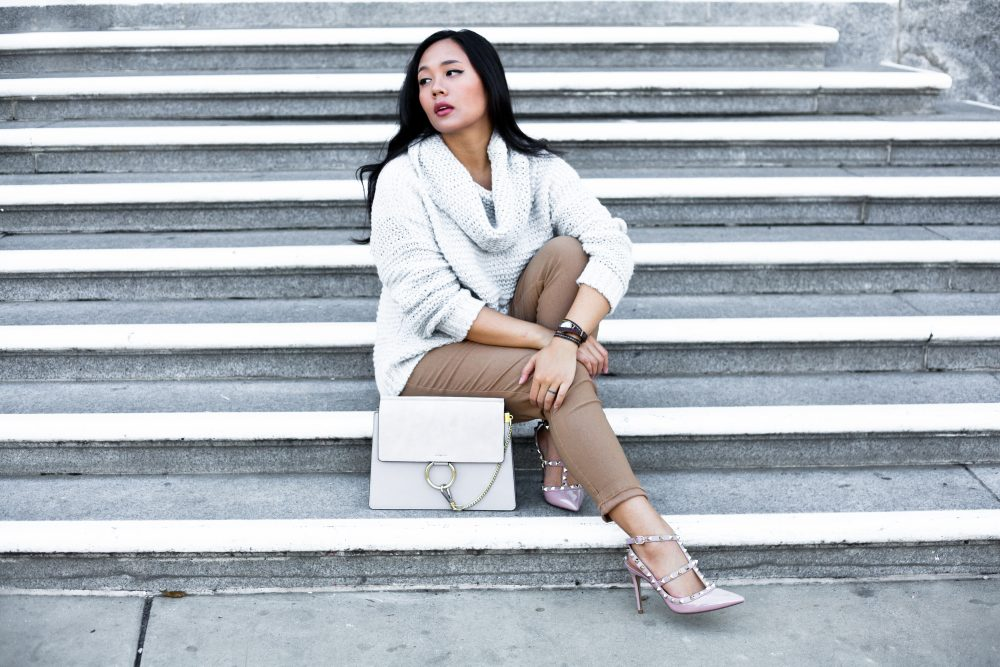 Get the look- Coat: $43.00, Sweater: $18.99, Pants: $12.90, Heels $129.00, Bag: $65.08 - THE BALLER ON A BUDGET