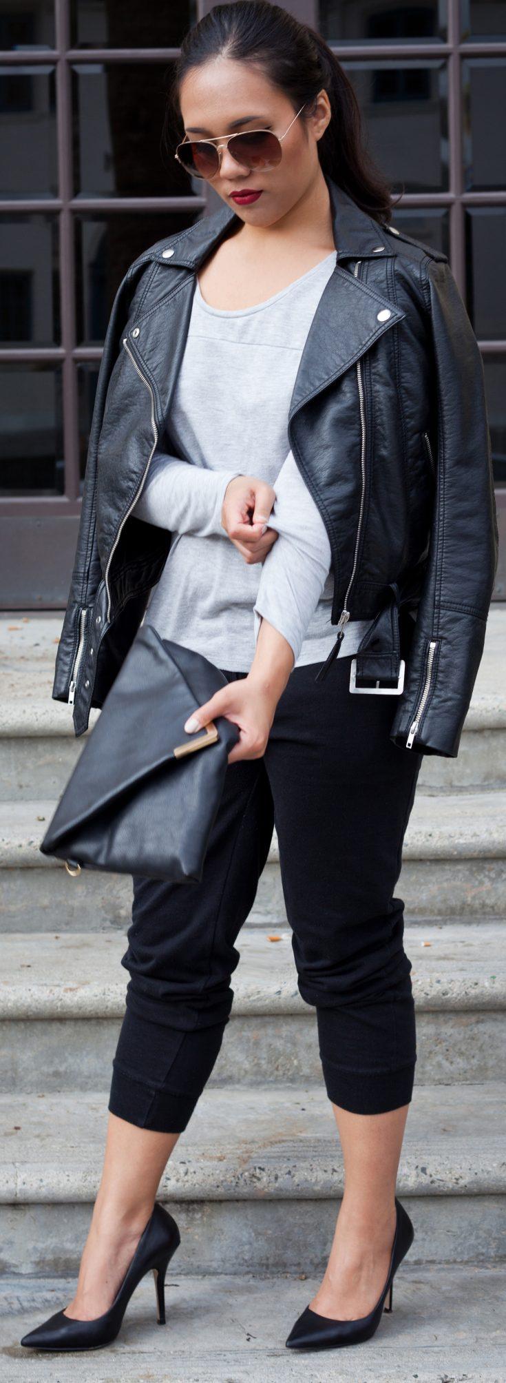 Shop the look - Aviator Sunglasses: $7.90, Biker jacket: $29.99, Longsleeve top: $6.90, Knit Sweatpants: $12.90, Pumps: $63.16, Clutch: $29.99 - THE BALLER ON A BUDGET