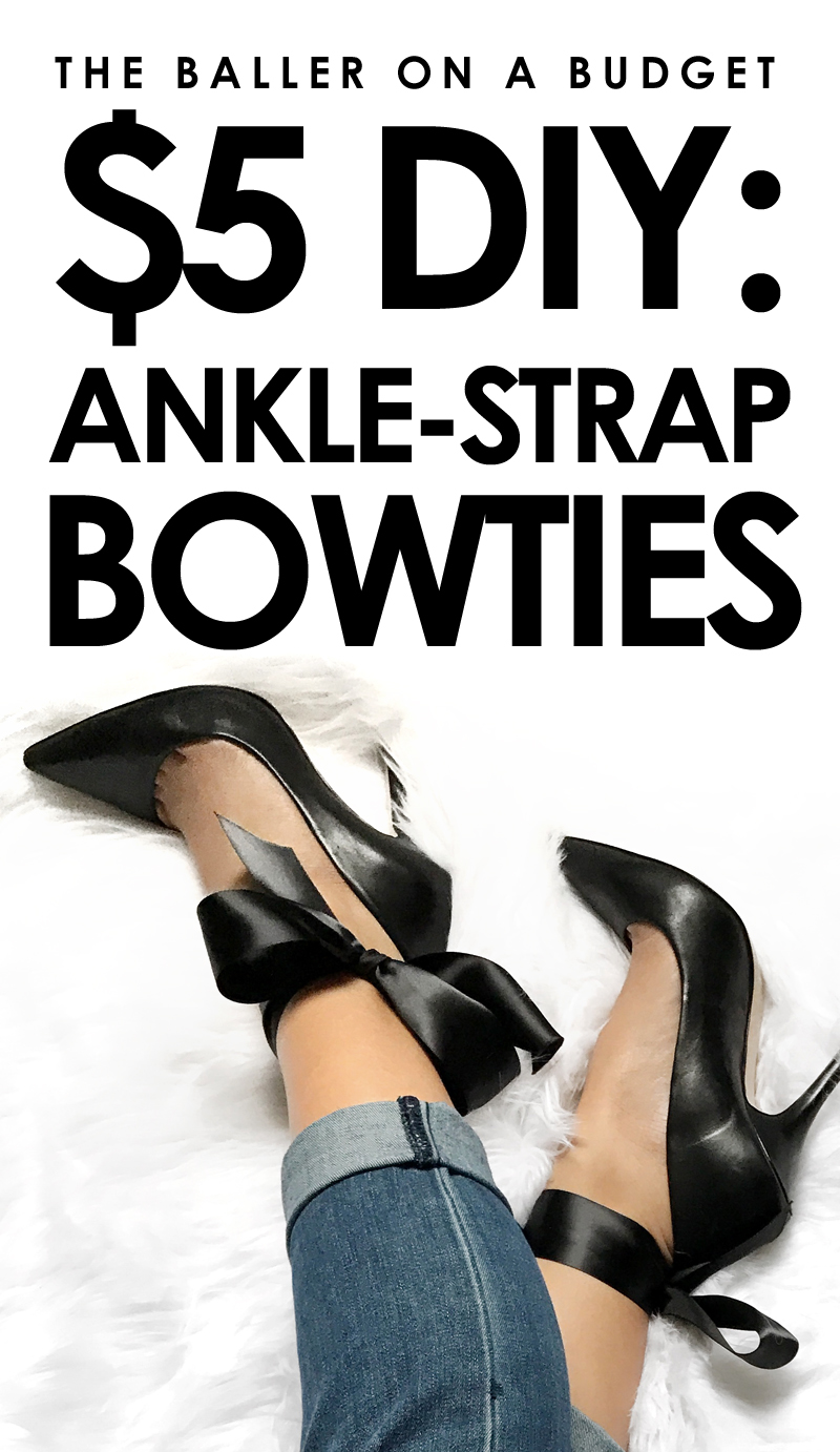 This $5 DIY is a perfect way to add bowties to your high heels without buying a brand new pair or permanently altering them! This project costs less than $5, and is quick and easy to make. - www.theballeronabudget.com