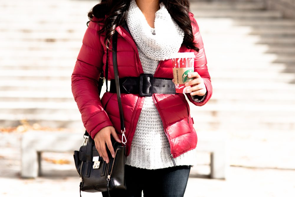 Shop the look - Beanie: $8.62, Sweater: $20.99, Belt: $13.99, Down Jacket: $34.99, Boots: $99, Jeans: $24.99, Purse: $55.87 - THE BALLER ON A BUDGET