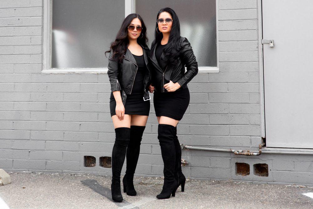 Shop the Look: Leather Jacket: $34.90, Dress: $6.90, Hoop Earrings: $9.00, Sunglasses: $6.99, Boots: $99 - www.theballeronabudget.com