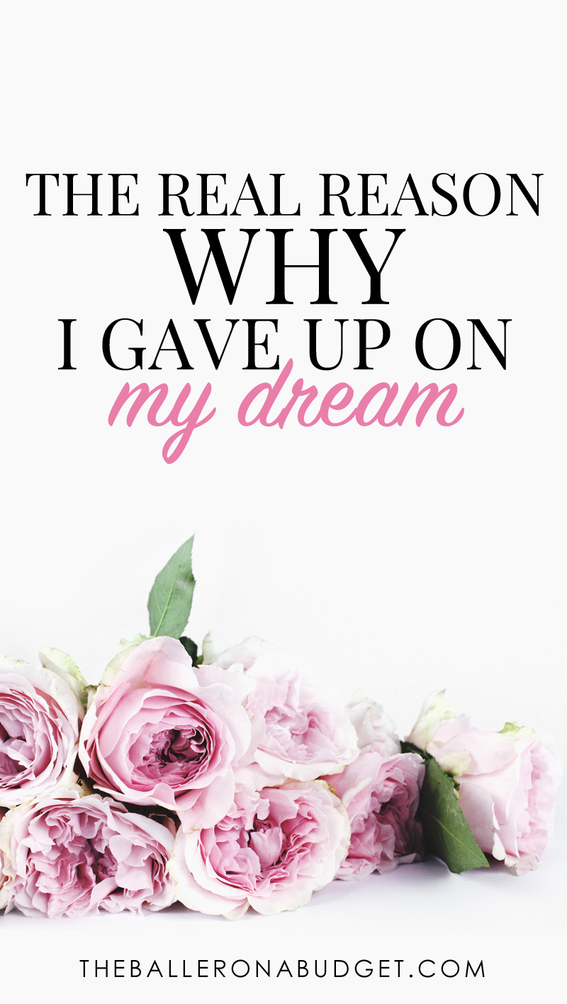 Sometimes you do everything you can to pursue your dreams, but have to give them up for the bigger picture. I gave up mine, but it became the best decision of my life and opened up better opportunities for me in the future. Read more about my life-changing decision on changing career paths for good. - www.theballeronabudget.com