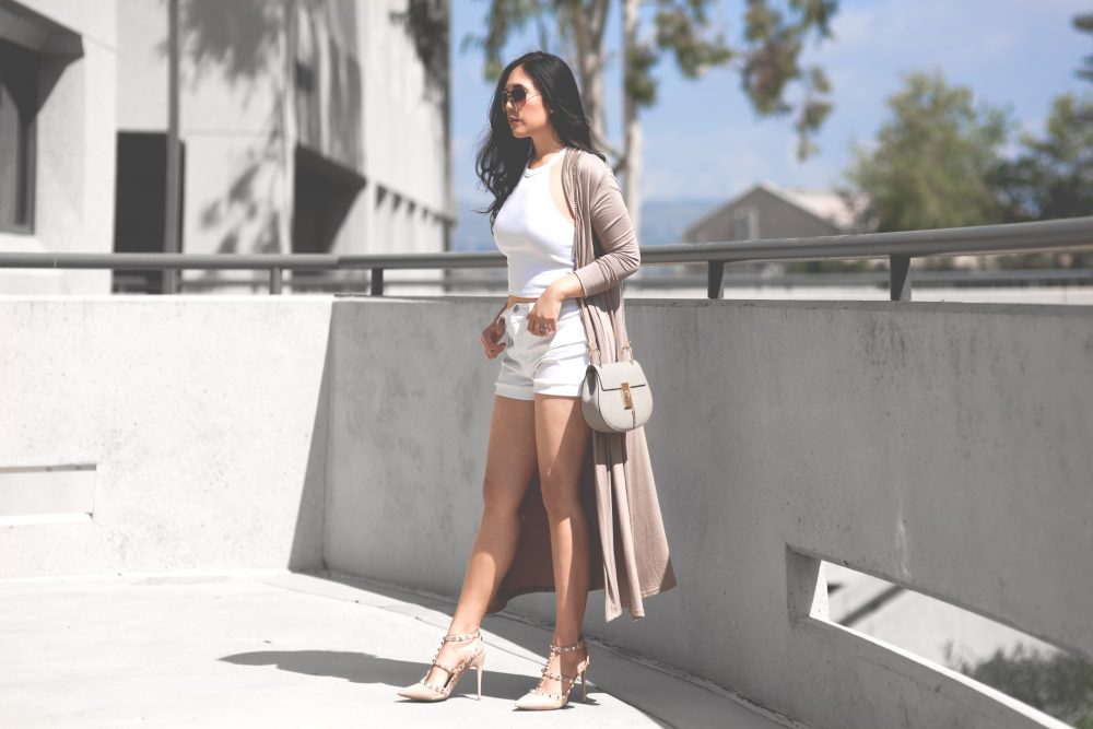 Shop the look- Cardigan: $16.78, Crop Top: $11.99, Shorts: $29.99, Shoes: $115 (Leather dupe for Valentino Rockstuds), Bag: $39.99 (Leather dupe for Chloe's Drew) - www.theballeronabudget.com