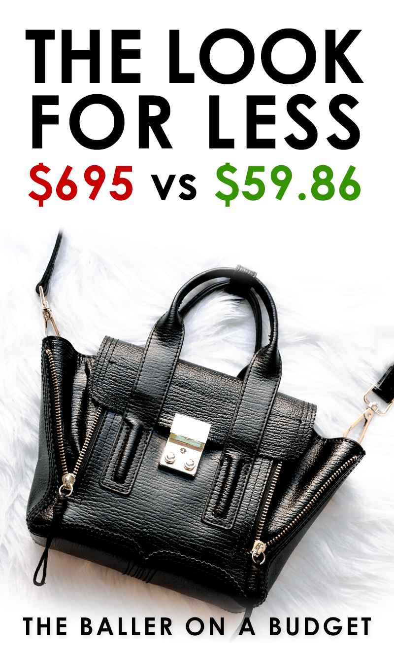 Phillip Lim's Pashli Mini is a whopping $695. Here is a similar bag I found for only $59.86! Read the full review and find out where to buy here. - www.theballeronabudget.com