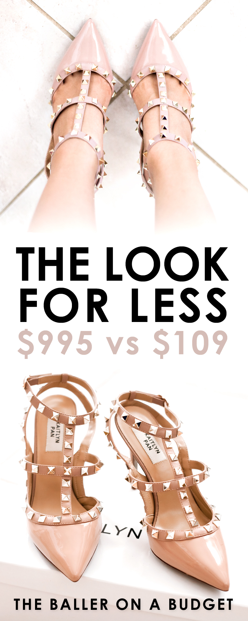 Valentino's Rockstud is a gorgeous heel priced at $995. We found a similar pair made of genuine leather and lambskin for only $109! Read the full review and find out where to buy here. - www.theballeronabudget.com