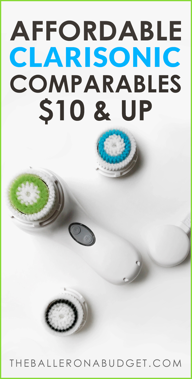 Pinterest graphic featuring sonic waterproof facial skincare brush similar to Clarisonic