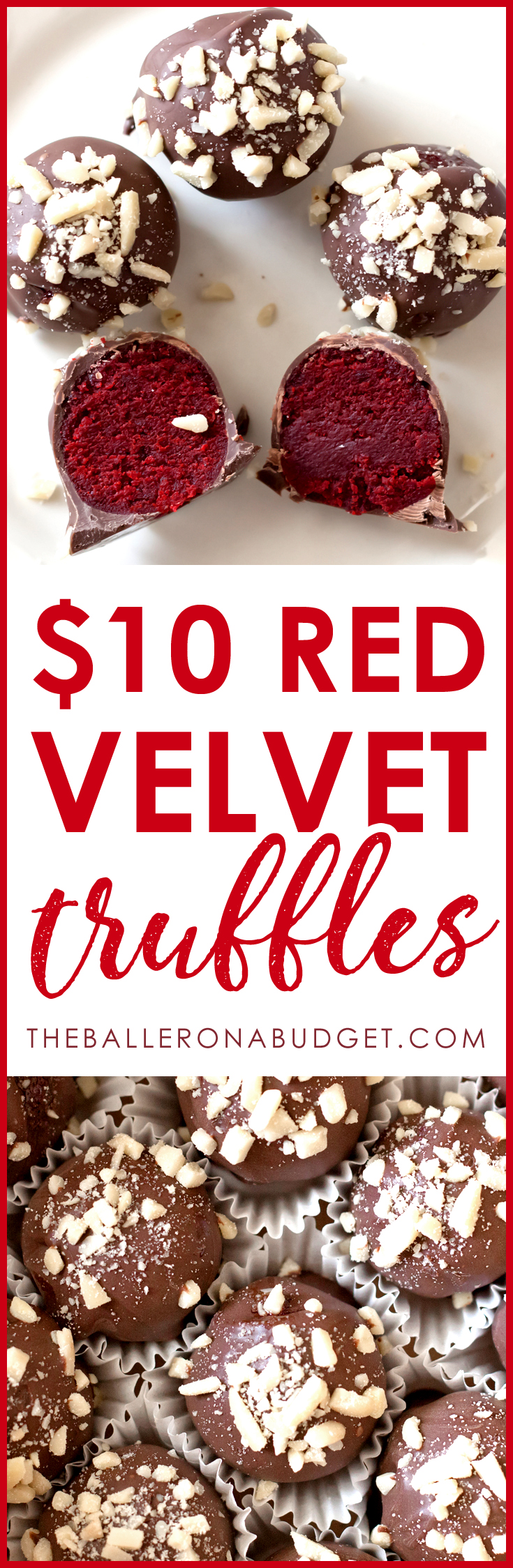 These quick and delicious red velvet truffles cost less than $10 to make and are perfect for holiday feasts, Christmas gifts or Valentine's Day presents! - www.theballeronabudget.com