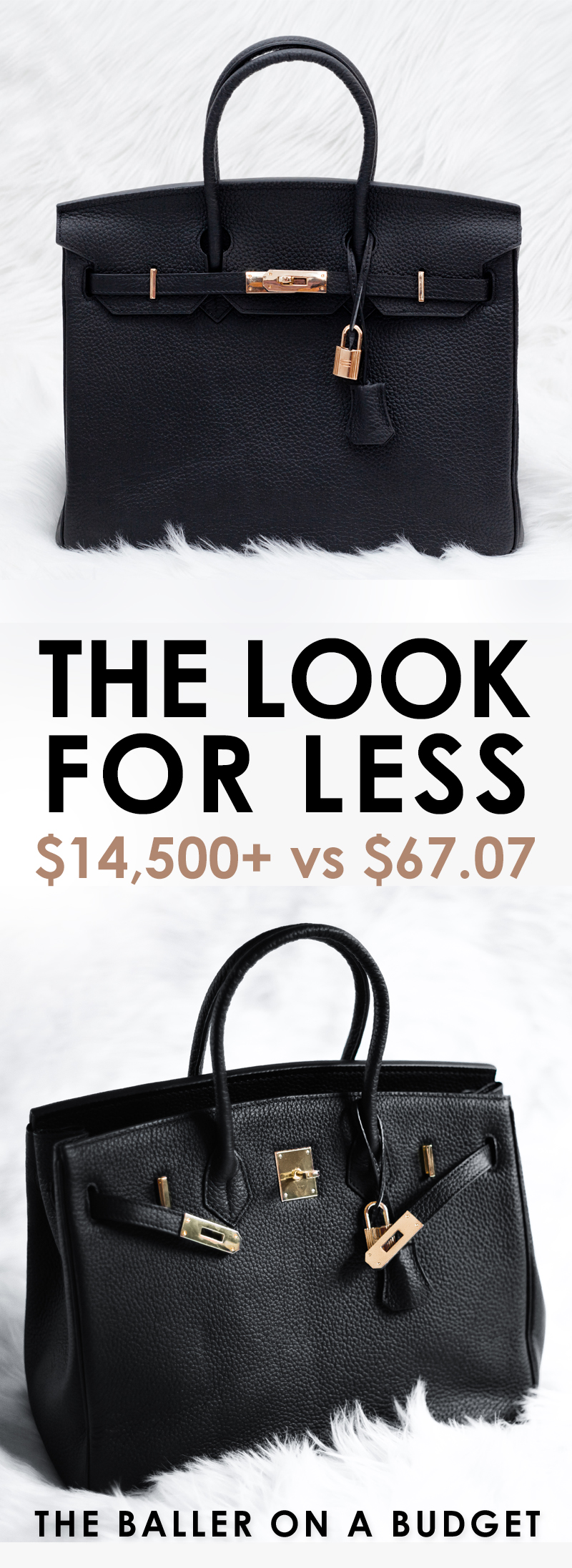 $14,500 Hermés Birkin vs. a $67.07 genuine leather bag that's similar: Read the review and find out where to buy here! - www.theballeronabudget.com