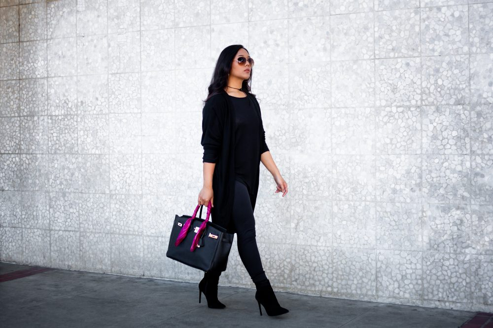 Get the look: Aviator Sunglasses: $6.99, Velvet Wrap Choker: $7.98, Cardigan: $17.83, Tunic: $14.99, Leggings: $12.95, Shoes: $85.87, Handbag: $125 - THE BALLER ON A BUDGET