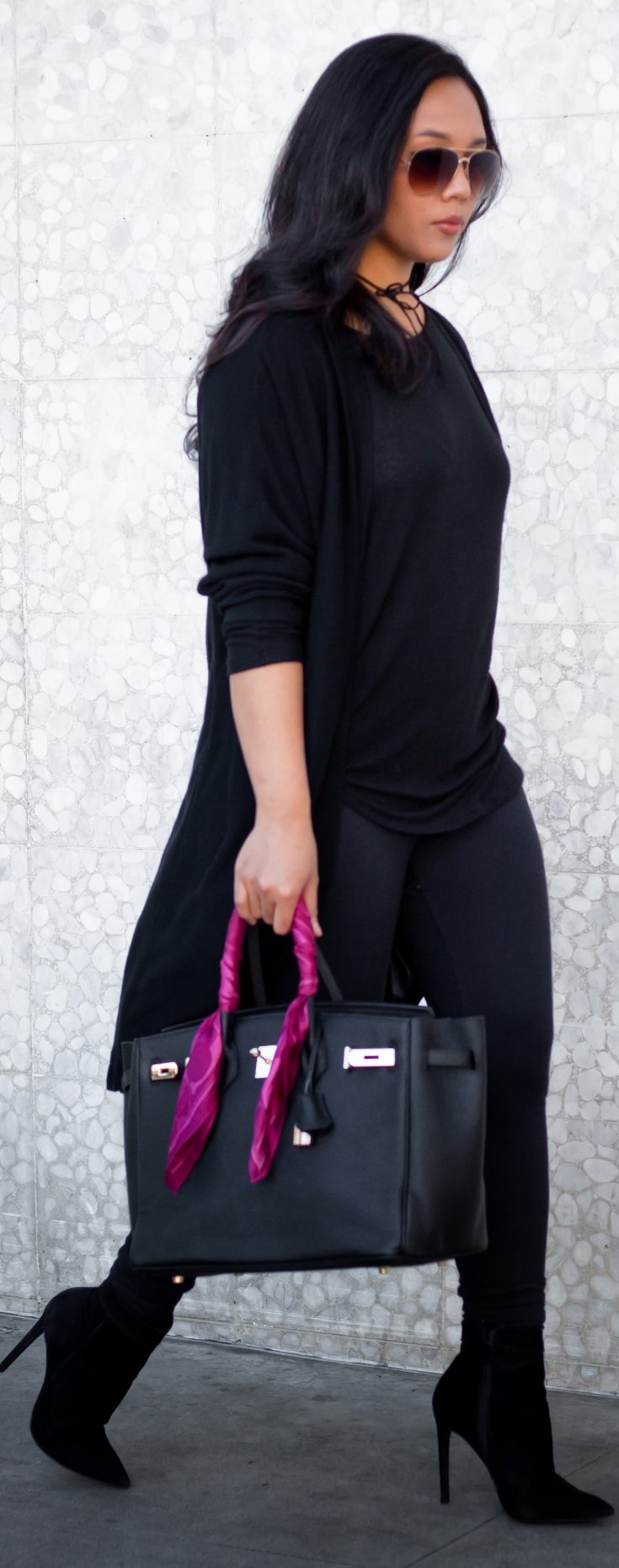 Shop the look: Aviator Sunglasses: $6.99, Velvet Wrap Choker: $7.98, Cardigan: $17.83, Tunic: $14.99, Leggings: $12.95, Shoes: $85.87, Handbag: $125 - THE BALLER ON A BUDGET