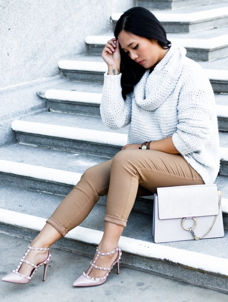 Shop the look- Coat: $43.00, Sweater: $18.99, Pants: $12.90, Heels $129.00, Bag: $65.08 - THE BALLER ON A BUDGET