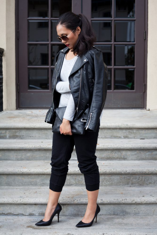 Shop the look - Aviator Sunglasses: $7.90, Biker jacket: $29.99, Longsleeve top: $6.90, Knit Sweatpants: $12.90, Pumps: $63.16, Clutch: $29.99 - THE BALLER ON A BUDGET