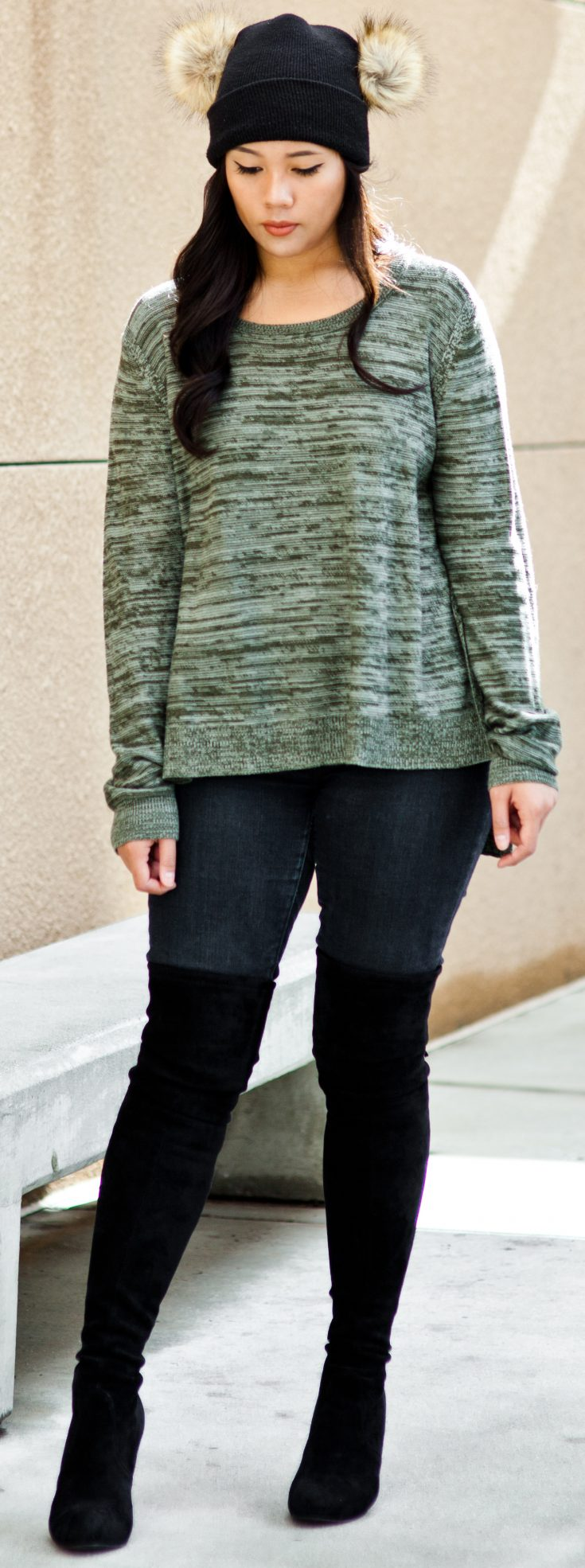 Get the look: Sweater: $10.00, Jeans: $36.99, Over-the-knee Boots: $99, Backpack: $37.99 - THE BALLER ON AB UDGET