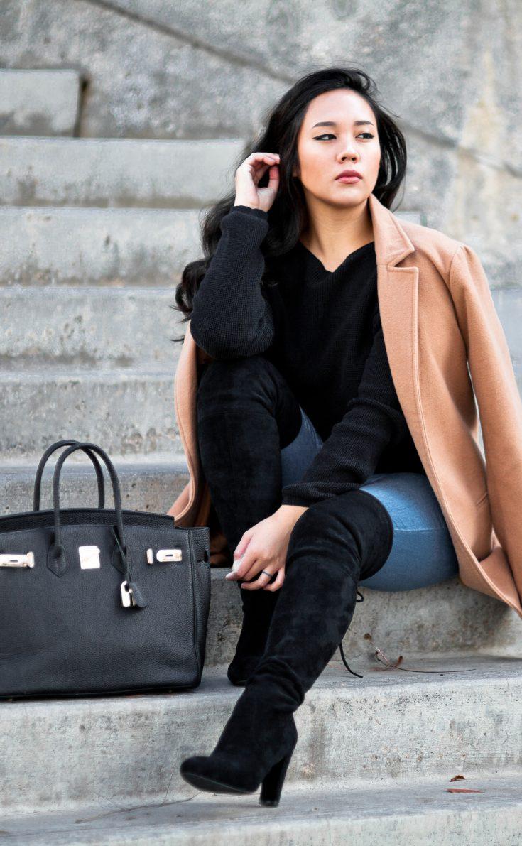Shop the look- Coat: $25, Boots: $99, Purse: $67. For outfit details visit www.theballeronabudget.com
