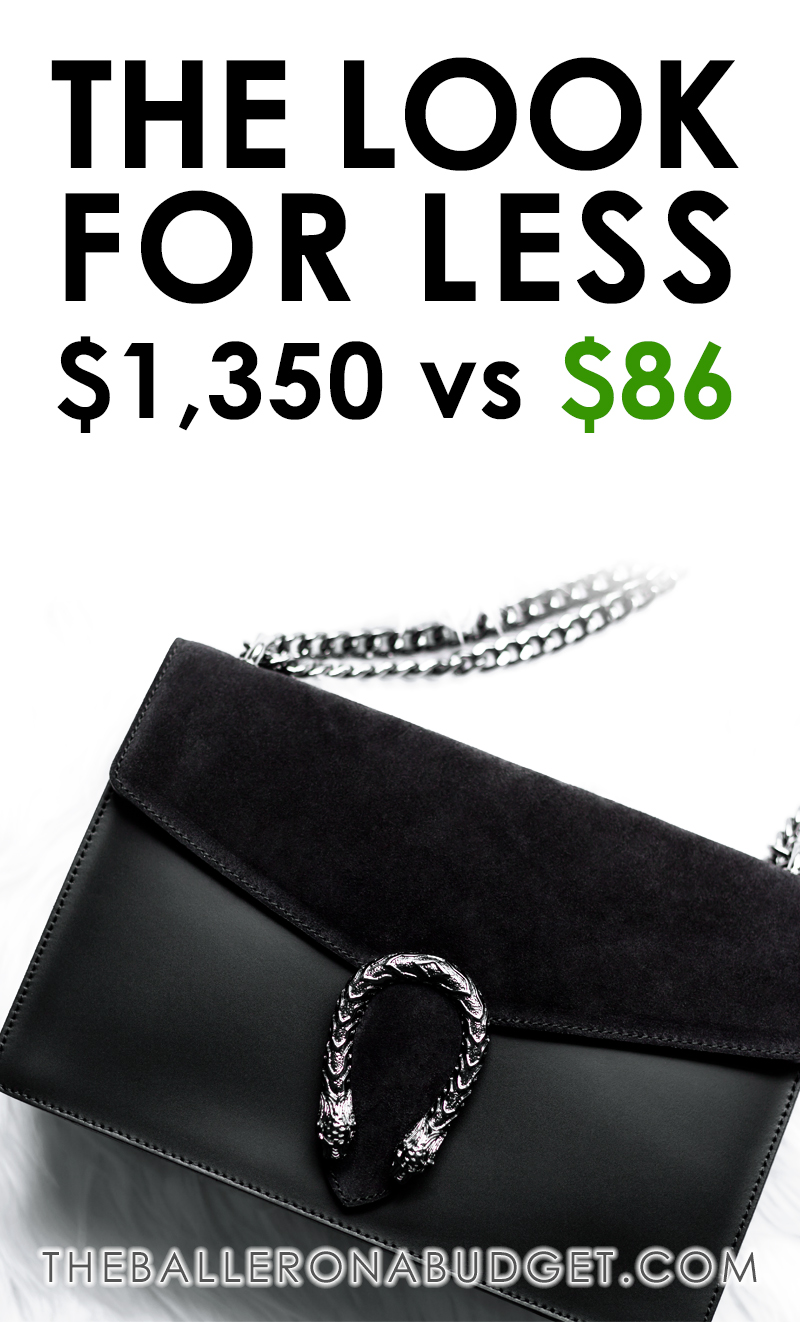 Love the Gucci Dionysus bag but can't afford the $1,350 price tag? Here's a similar Italian leather handbag for just $86! - www.theballeronabudget.com