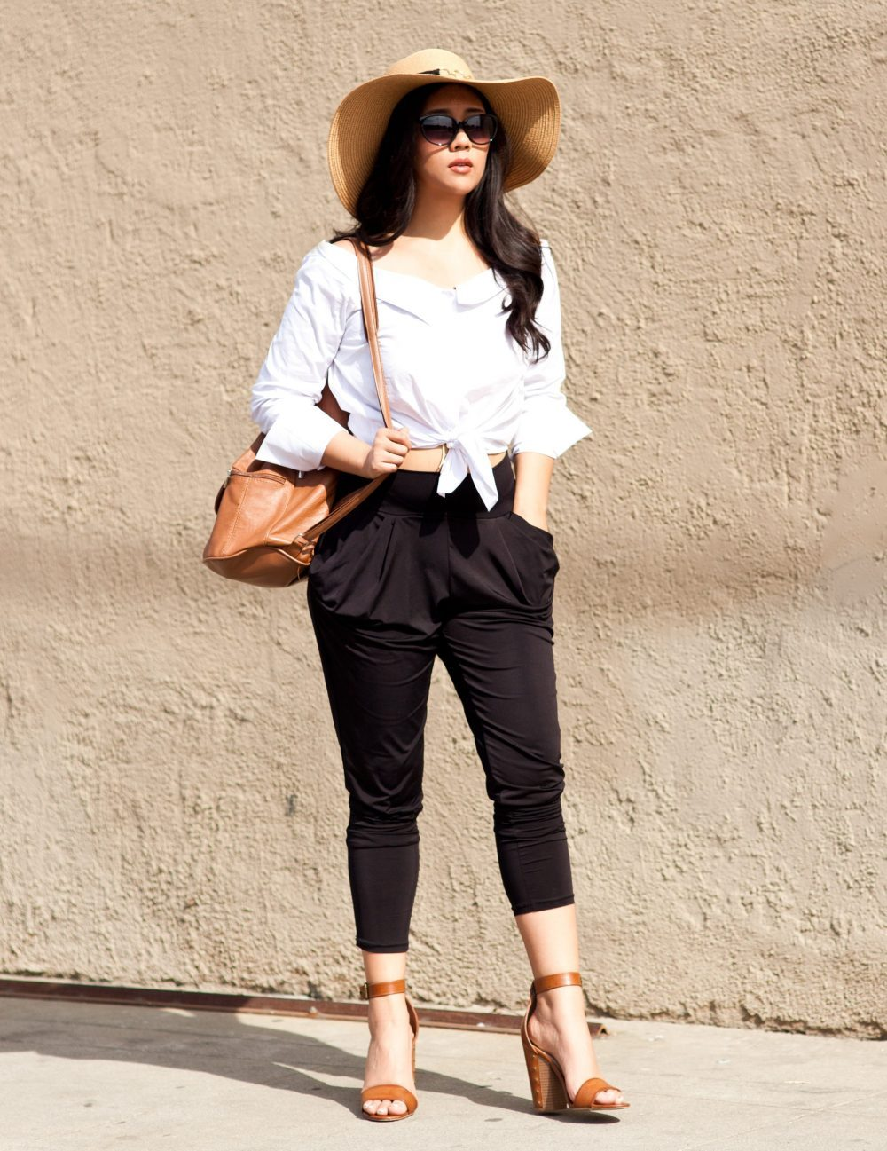 Shop the look- Hat: $11.99, Blouse: $19.00, Pants: $11.13, Backpack: $21.00, Shoes: $16.76 - www.theballeronabudget.com