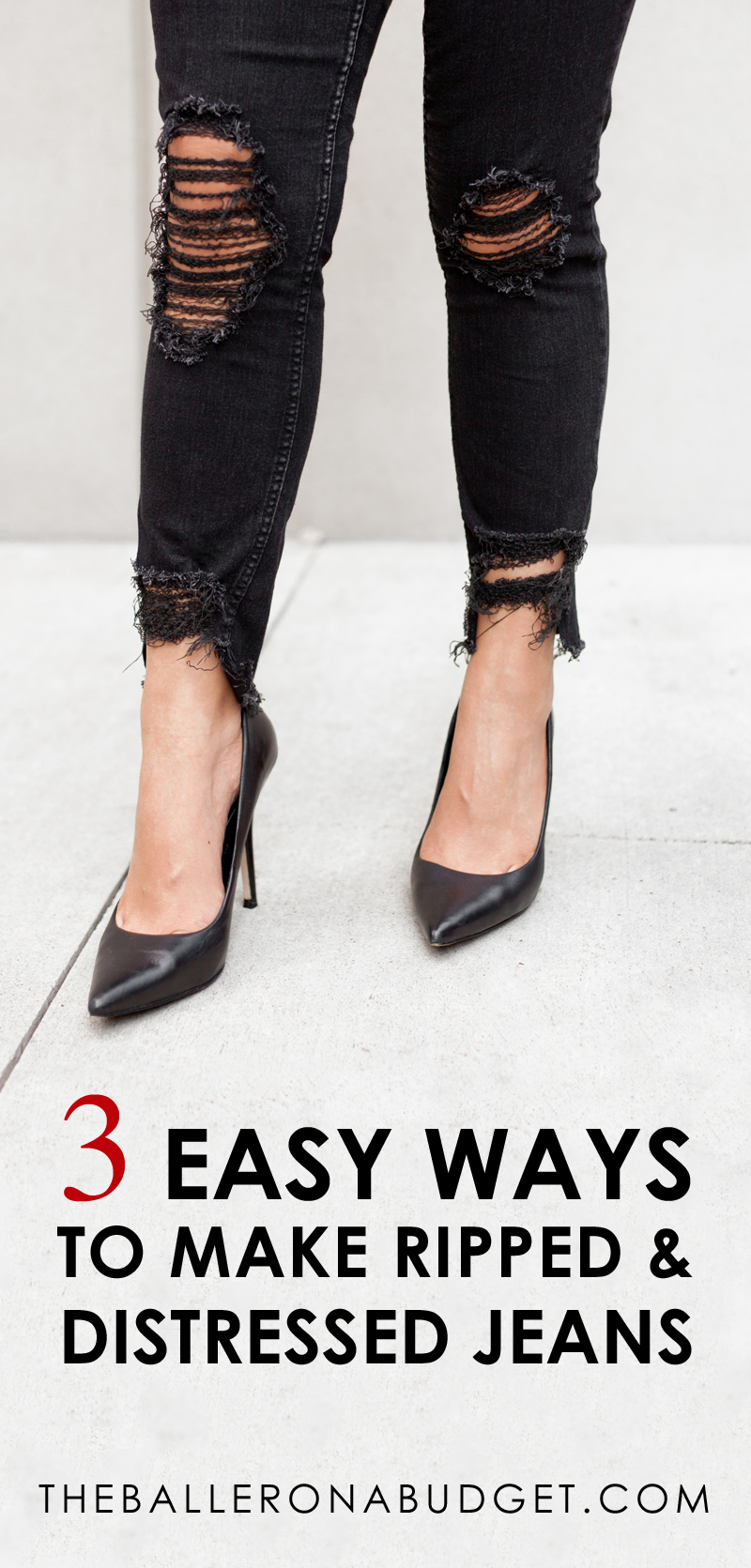 Want that distressed designer denim look without the price tag? Here are 3 incredibly easy DIY projects to create your own distressed jeans! From frayed hems to ripped knees, you can turn all of your jeans into designer ripped jeans within minutes. - www.theballeronabudget.com