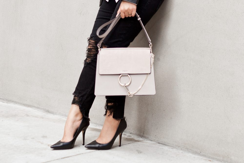 Another great genuine leather and suede dupe: This $68.50 bag is a spot-on dupe for Chloe's $1,950 Faye. - www.theballeronabudget.com