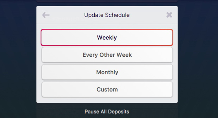 With Rize, you can select your deposit schedule and choose between weekly deposits, every other week, monthly, or you can even set a date.