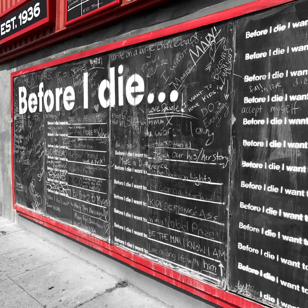 "The famous ""Before I Die"" wall is located in Hillcrest, San Diego, right outside the Alibi restaurant."