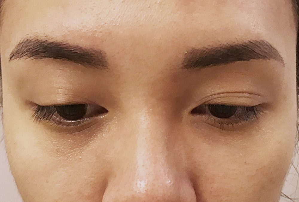 Week 3 post-microblading procedure. The color is beginning to fade.