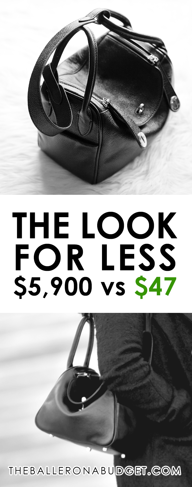 Want an Hermes Lindy without the $5,900 price tag? Here's a genuine leather bag that's similar to the Hermes Lindy for just $47.70, with vegan-friendly options available! - www.theballeronabudget.com