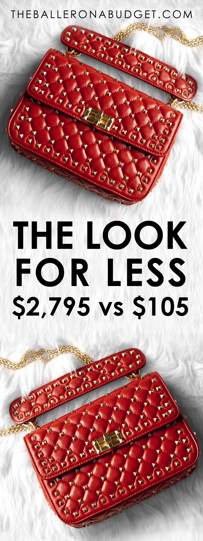 Looking for a bag that's stylistically similar to the $3,000 Valentino Rockstud Top Handle Bag without the expensive price tag? This handbag is made from genuine sheepskin and is only $109! - www.theballeronabudget