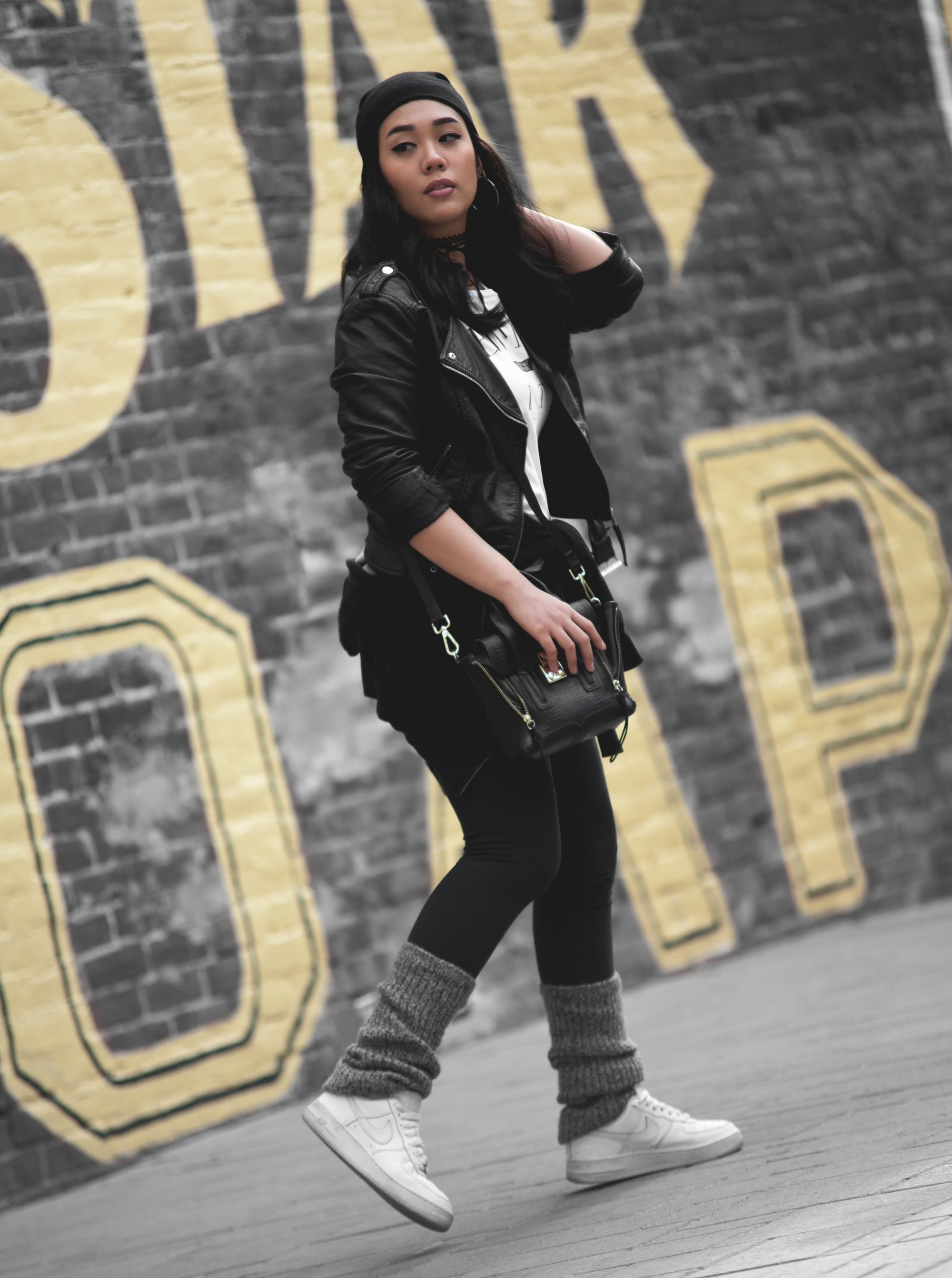 Beanie: $7, Handbag: $59.61, Moto Jacket: $32.90, Graphic Tee: $8.90, Leg Warmers: $10, Shoes: $90.00 - www.theballeronabudget.com
