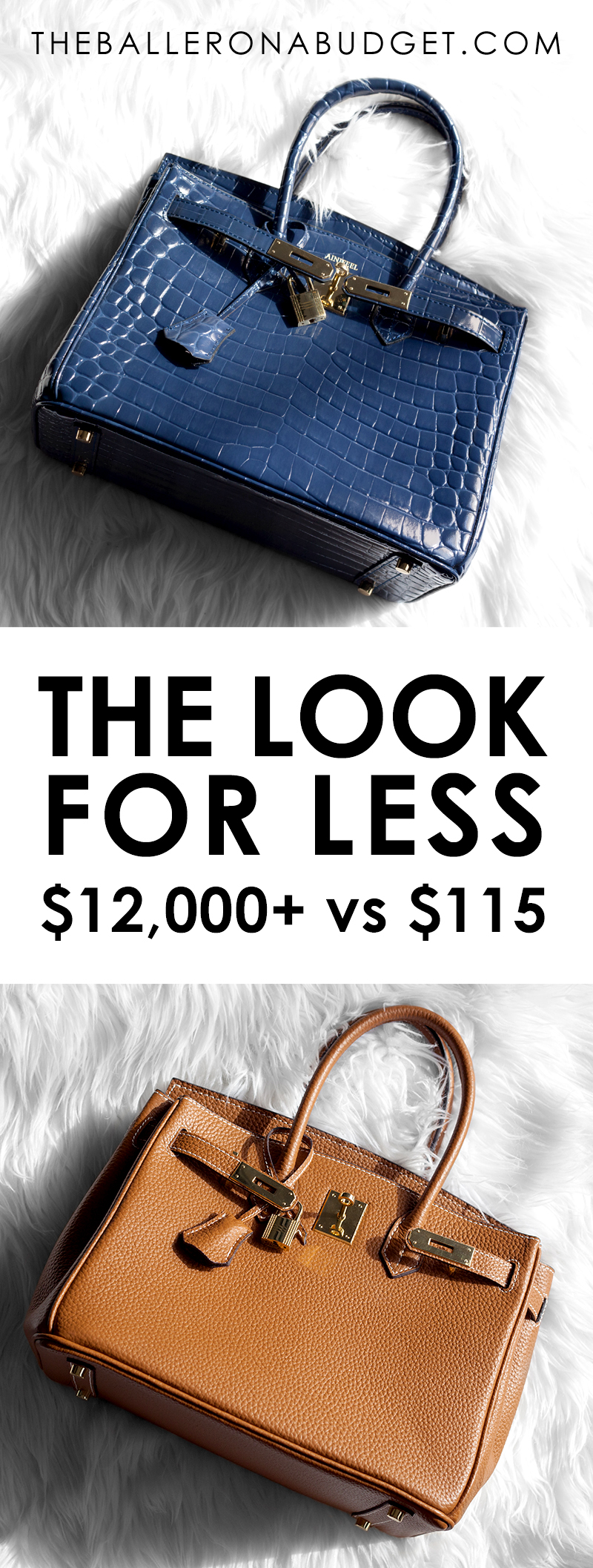 Fan of the expensive Hermés Birkin? Here are 4 gorgeous and high-quality designer-inspired bags from Ainifeel, from the standard Togo leather, to crocodile, ostrich and more. These quality handbags are between only $100 - $200! - www.theballeronabudget.com