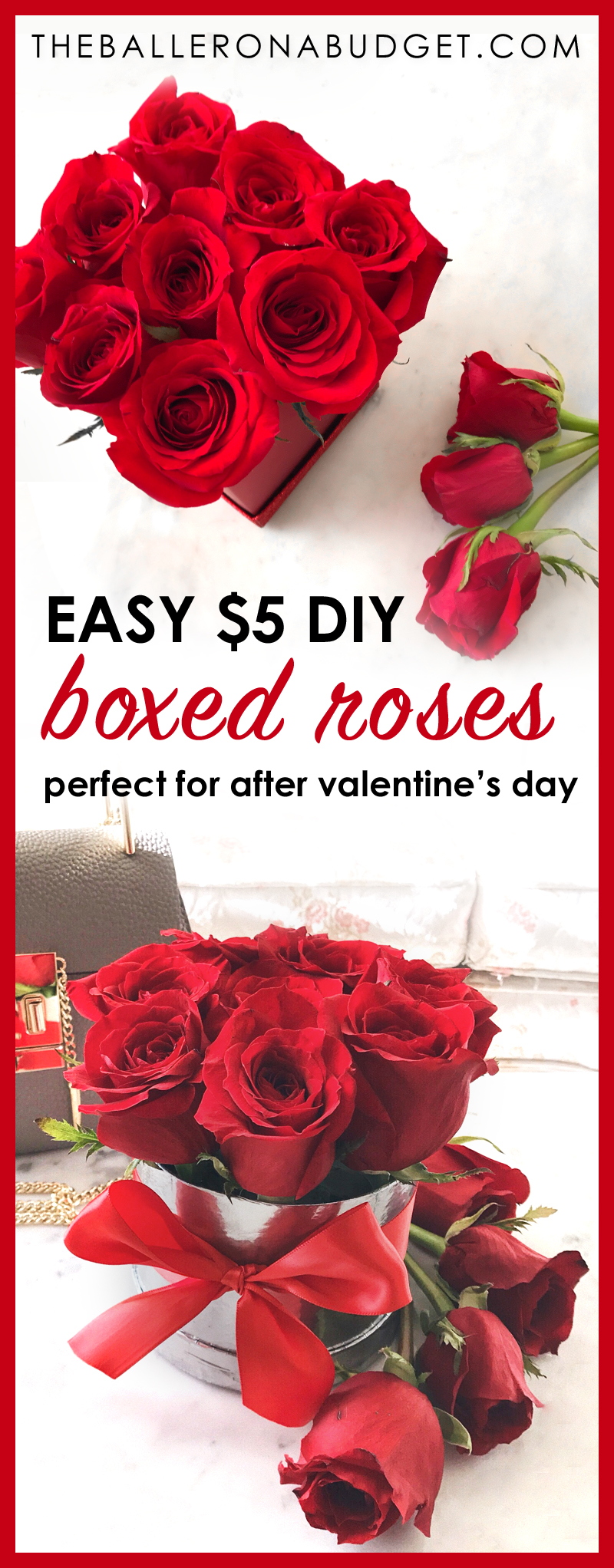What do you do with your roses after Valentine's Day, your anniversary, birthday, or any other holiday? This cheap and fast DIY project makes it easy to refresh your wilting roses. Make these boxed roses for only $5 and in less than 15 minutes! - www.theballeronabudget.com