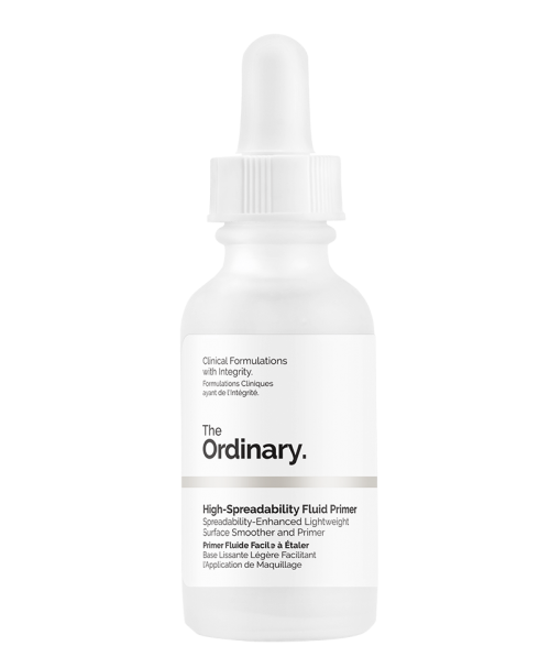 The Ordinary's High-Spreadability Fluid Primer spreads just like a thin serum. It also works great for flakey areas - say, healing pimples that are still flaking or just dry skin in general. - www.theballeronabudget.com