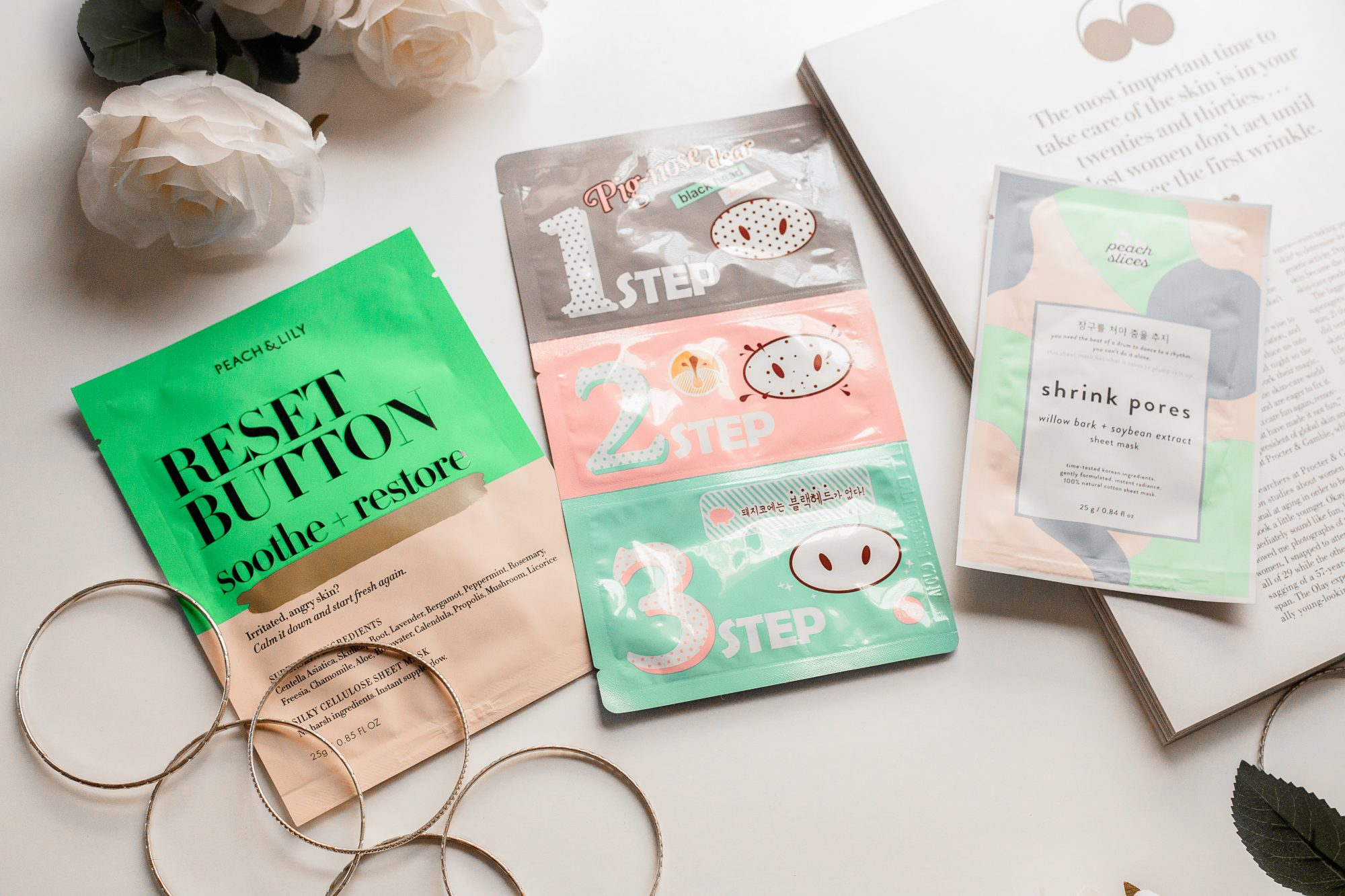 Peach & Lily has their own line of sheet masks, and after seeing amazing results with the Reset Button Soothe + Restore Sheet Mask ($6) I've been convinced to try out their other masks. This formula wasn't sticky at all and absorbed into my skin without leaving a greasy residue. It's wonderful for sensitive gals like me with oily skin! You can grab all 3 Peach & Lily sheet masks for $15. - www.theballeronabudget.com