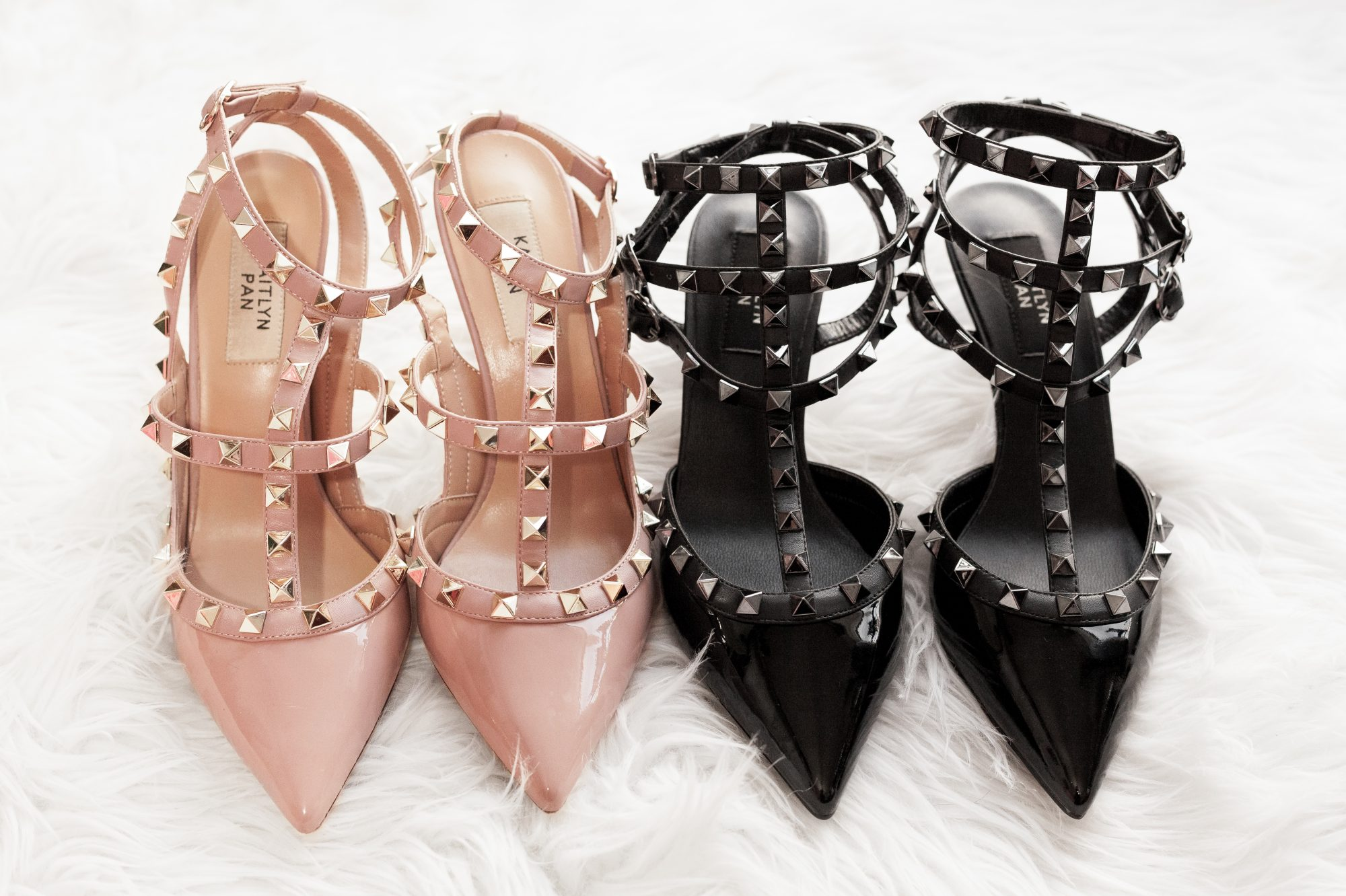 Just like the original Valentino, the kitten heel does have one significant difference in design aside from heel height. The 4-inch version has a single ankle strap, whereas the kitten heel has 3 straps. - www.theballeronabudget.com