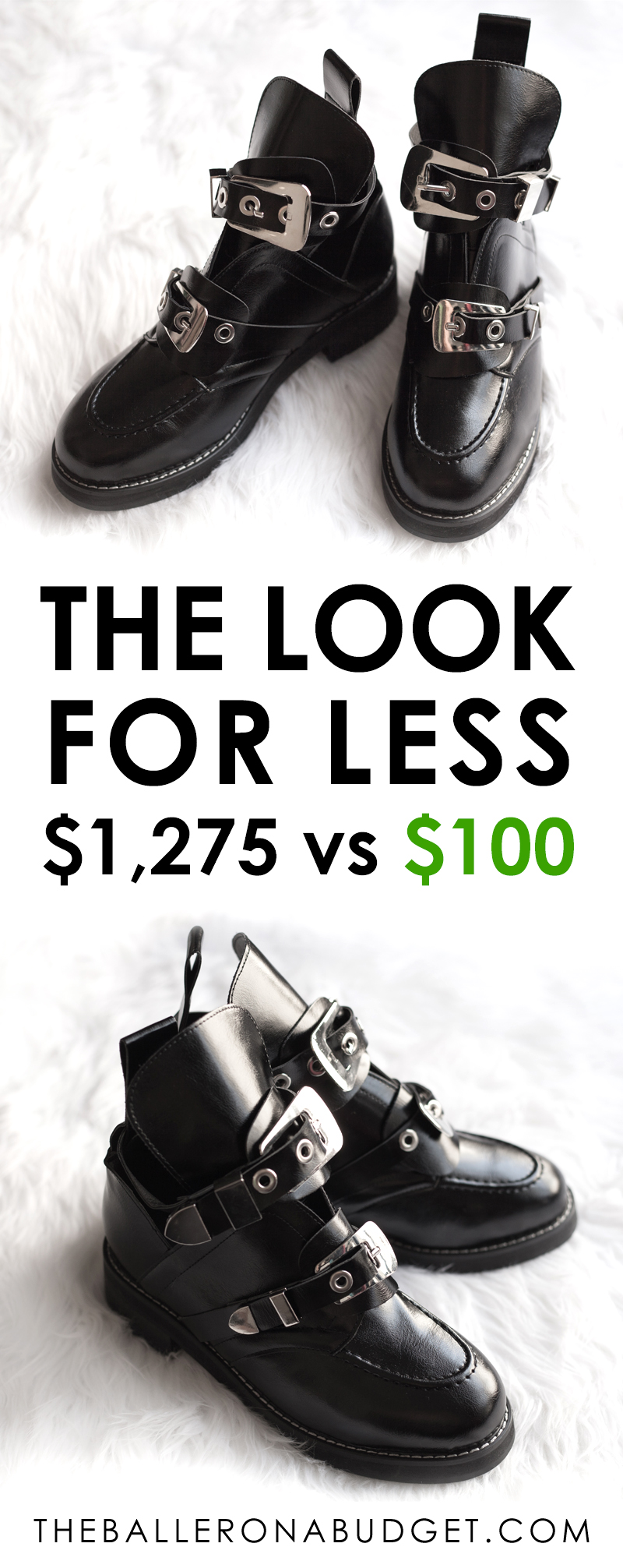 The Balenciaga Ceinture ankle boot costs a whopping $1,275. Here's a pair of genuine leather boots that look similar for just $100. - www.theballeronabudget.com