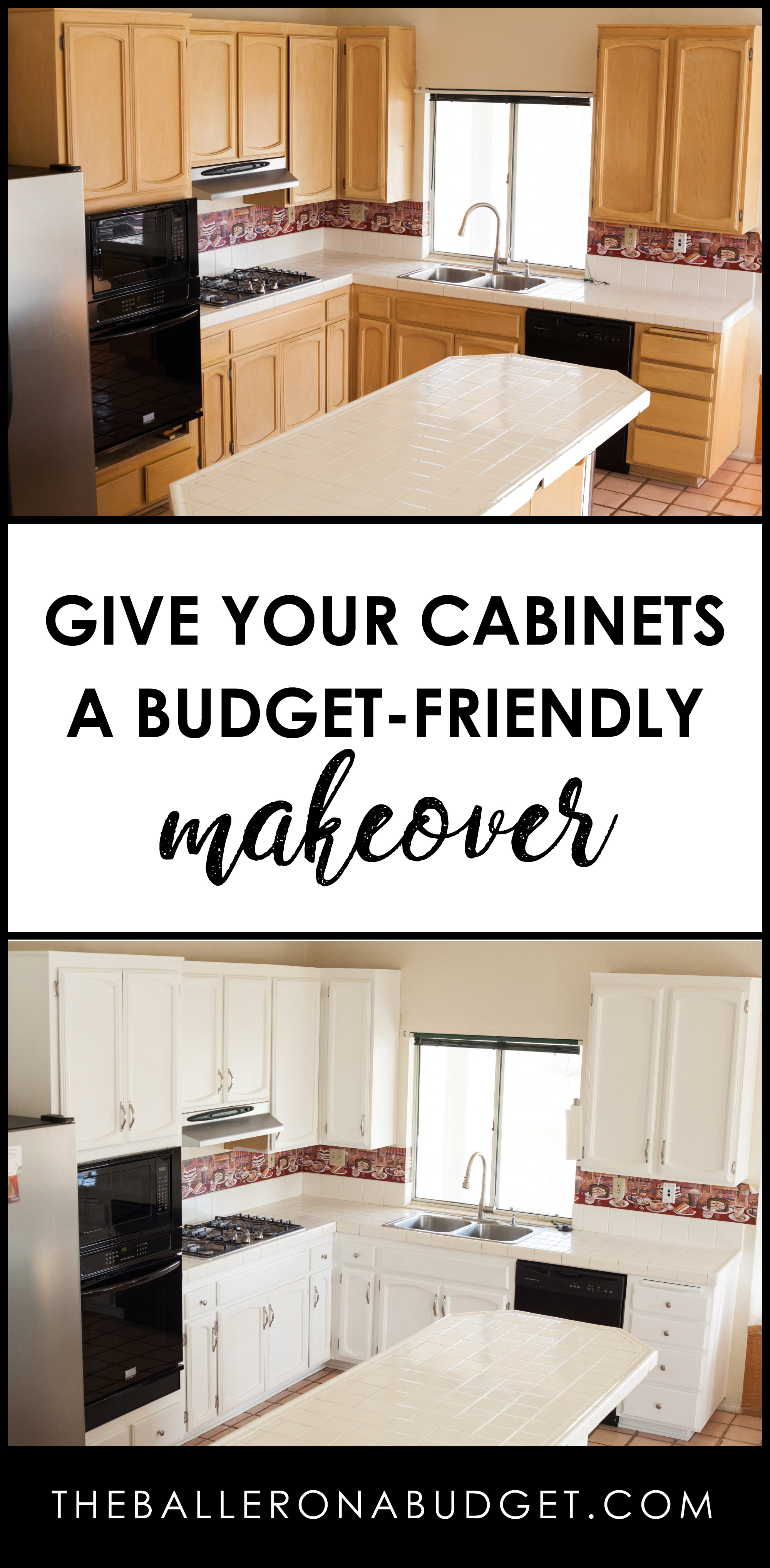 A fresh coat of paint and new hardware can be a budget-friendly way to dramatically update your kitchen cabinets. This DIY tutorial will show you how to give your cabinets a facelift, from start to finish! - www.theballeronabudget.com