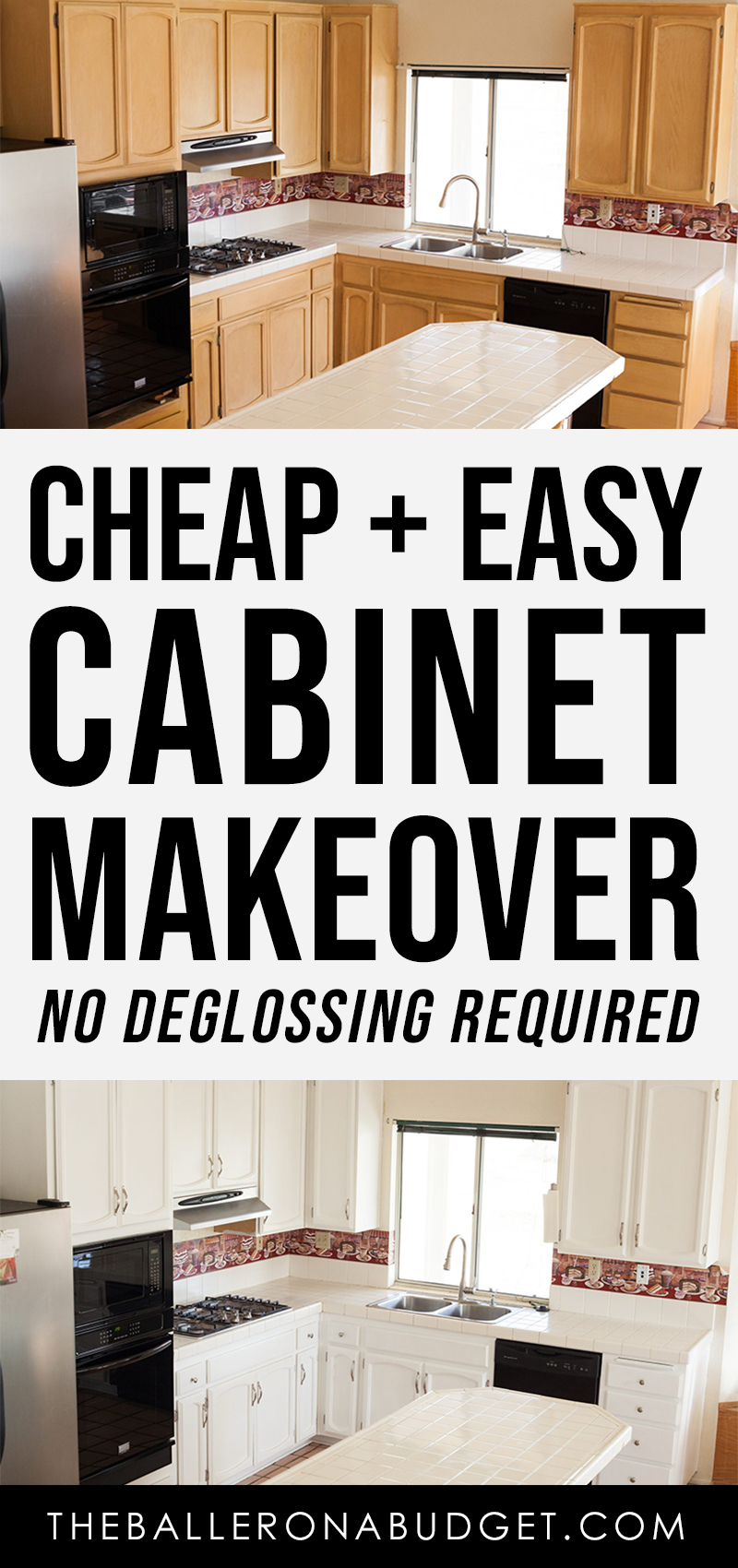 Before and after images of easy and affordable cabinet makeover using milk paint with no deglosser