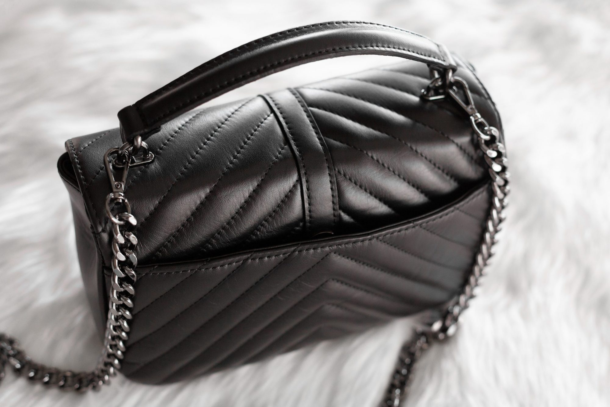 Black flap of Italian leather handbag by Fashion Drug