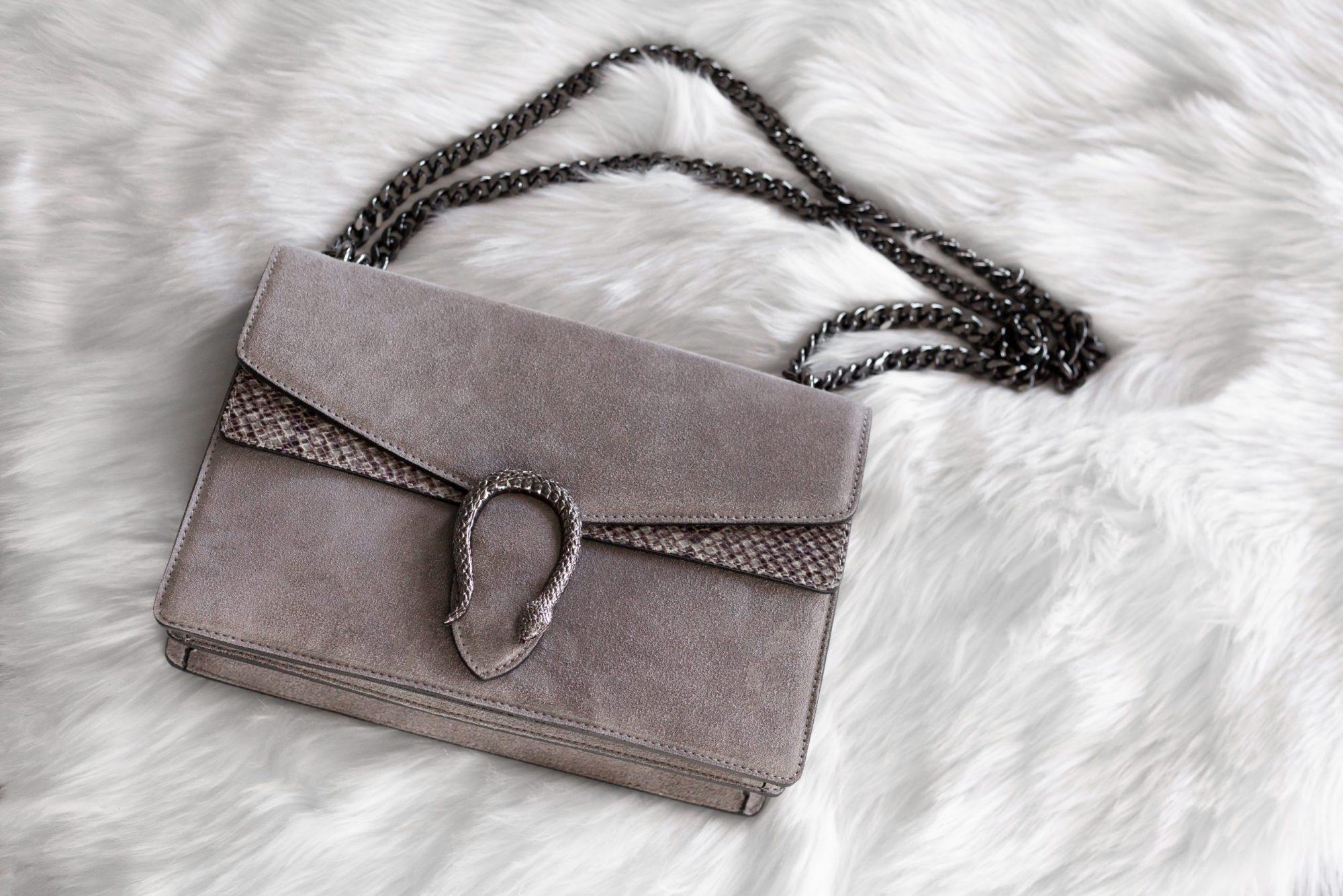 Italian suede handbag