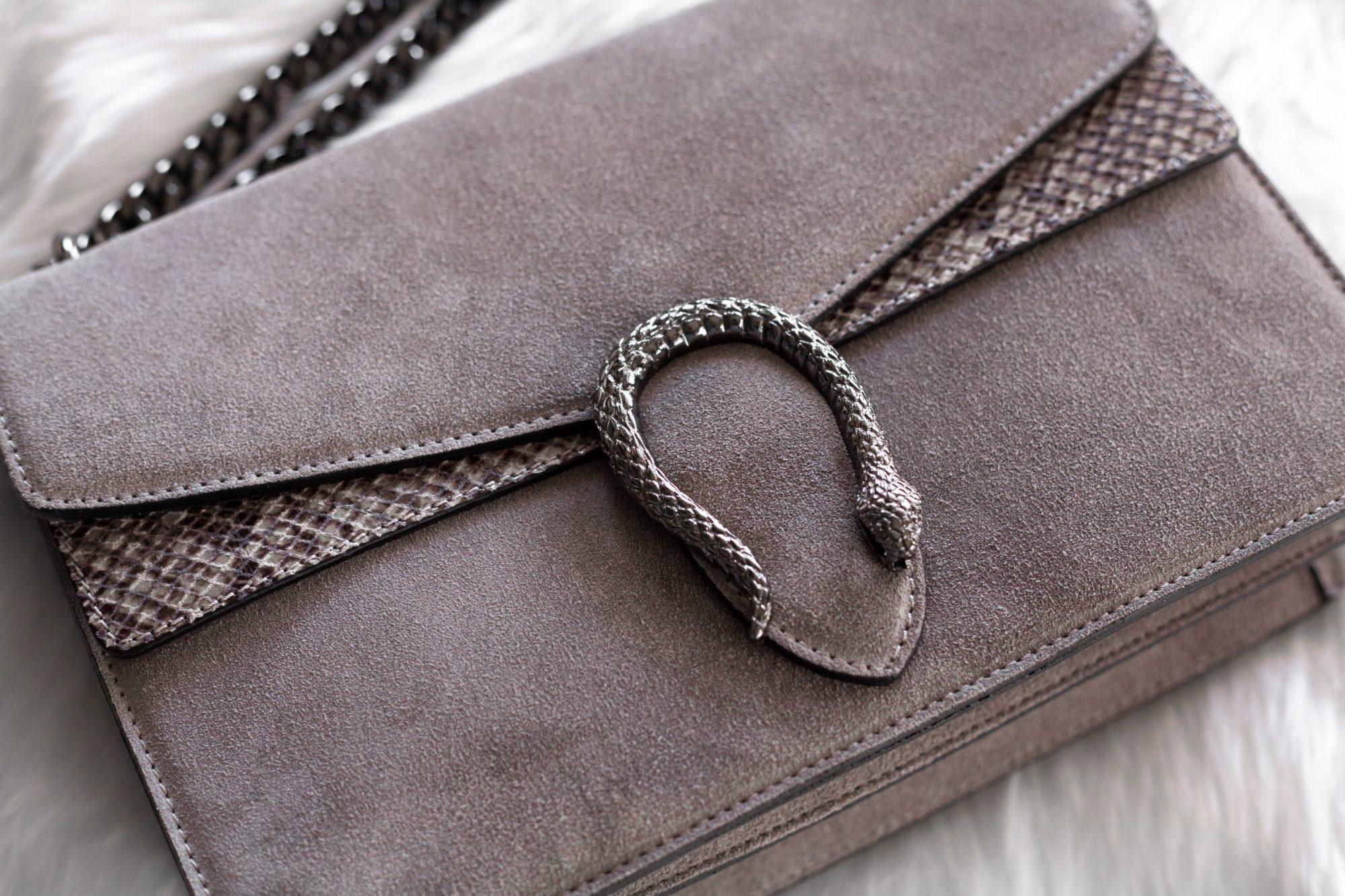 Italian suede handbag buckle
