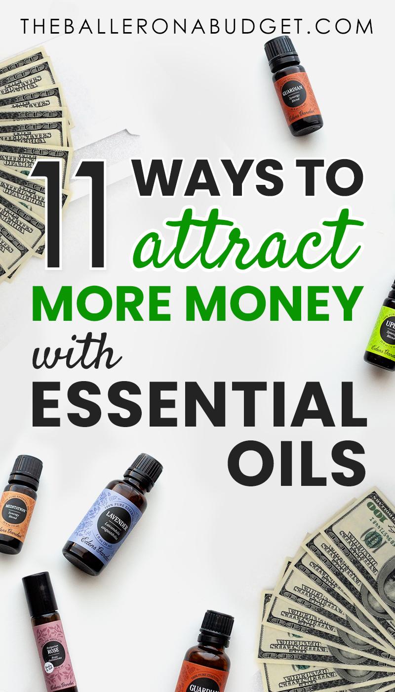 Pin graphic featuring Edens Garden essential oils and 100 dollar bills
