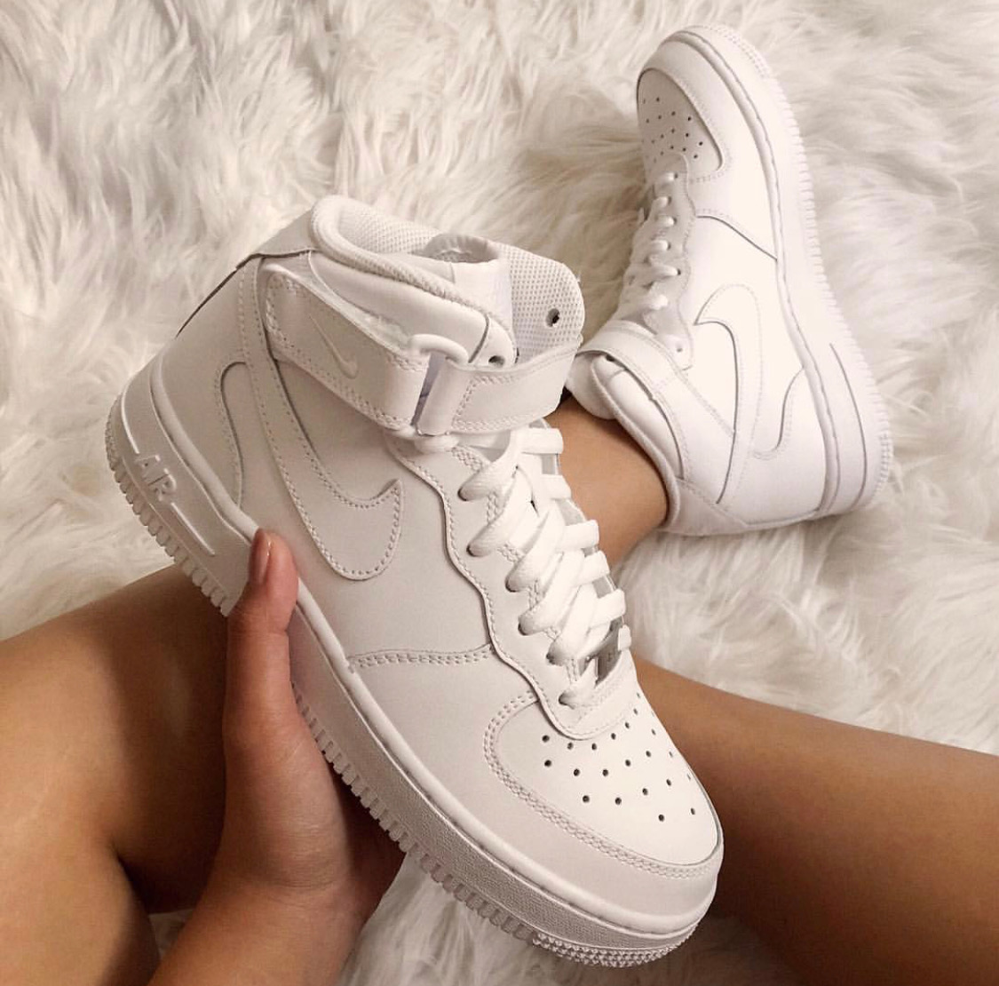 Nike Air Force 1 Mid in Triple White on sale