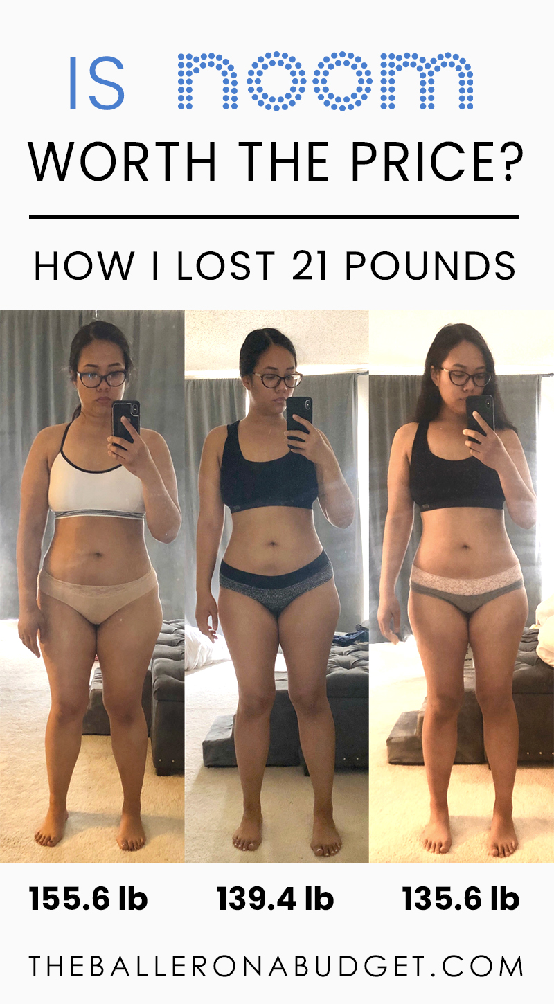 Young woman from 156 pounds to 135 pounds in one year using the Noom weight loss program