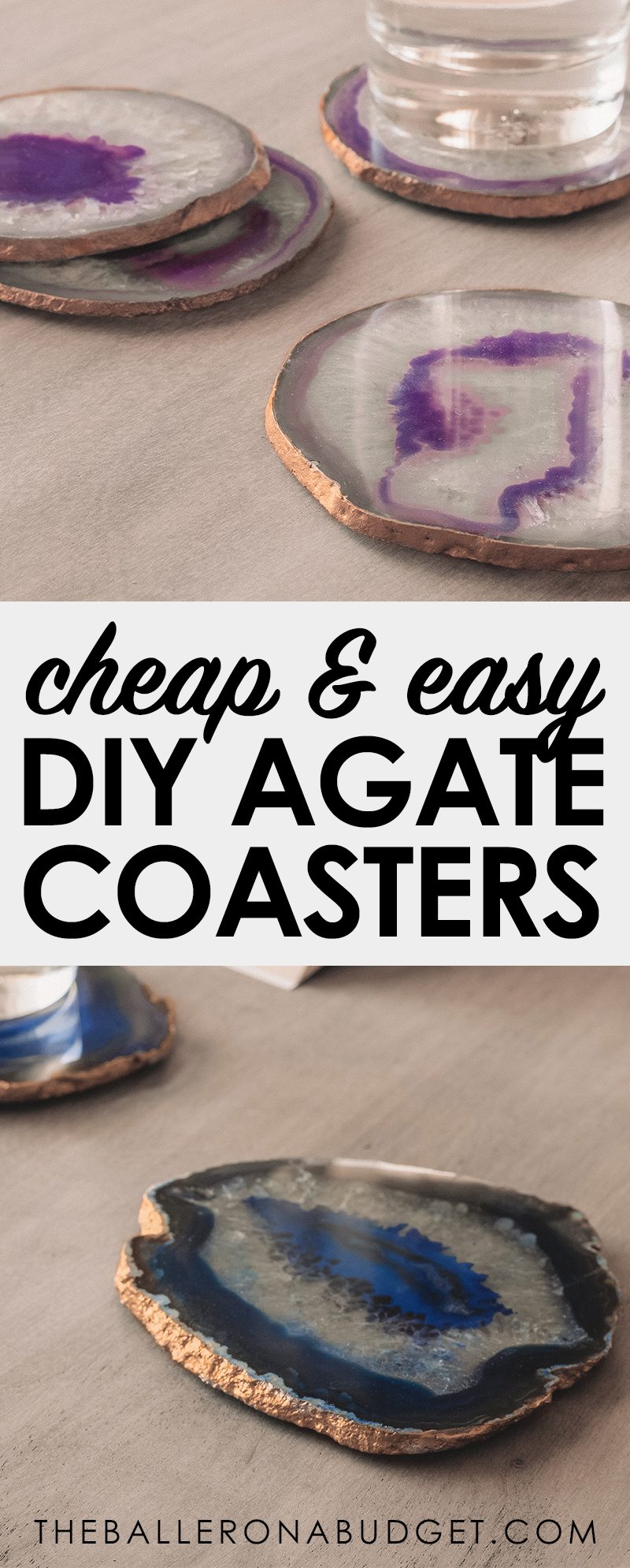 Pinterest graphic of cheap and easy DIY agate coasters craft project